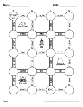 Thanksgiving Math: Multiplication Maze(Multiplying by 10, 100, and 1000)