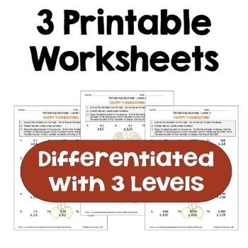Thanksgiving Math Multiplying Decimals Worksheets