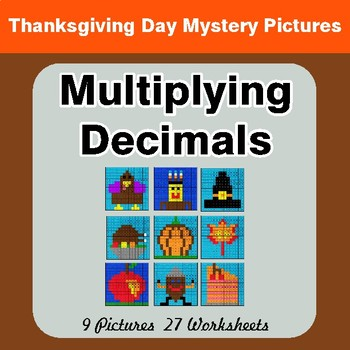 Thanksgiving Math: Multiplying Decimals - Color-By-Number Math Mystery Pictures