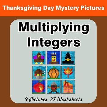 Thanksgiving Math: Multiplying Integers - Color-By-Number Math Mystery Pictures