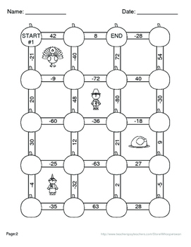 Thanksgiving Math: Multiplying Integers Maze