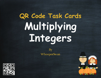 Thanksgiving Math: Multiplying Integers QR Code Task Cards