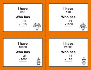 Thanksgiving Math: Multiplying by 10, 100, and 1000