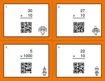 Thanksgiving Math: Multiplying by 10, 100, and 1000 QR Code Cards