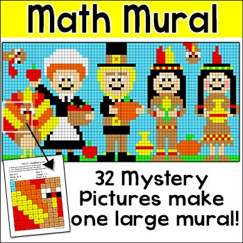 Thanksgiving Math Mural Whole Class Mystery Pictures Activity