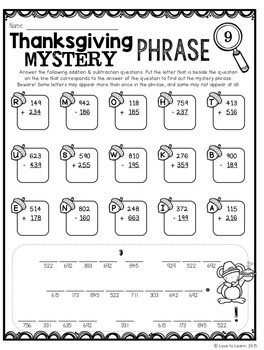 Thanksgiving Math Mystery Phrases