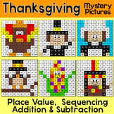 Thanksgiving Math Color by Number Addition & Subtraction 100s Chart Activities