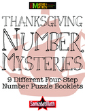 Thanksgiving Math Number Mystery Booklets - 4 Step Problem Scaffolded!