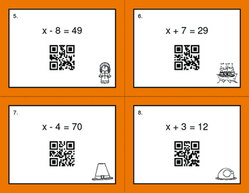 Thanksgiving Math: One Step Equations (Addition & Subtraction) QR Task Cards