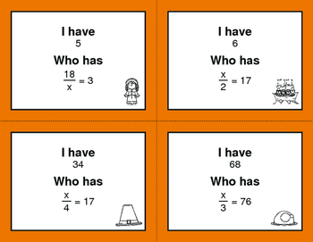 Thanksgiving Math: One Step Equations (Multiplication & Division)