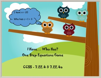 Thanksgiving Math - One Step-Solving Equations Game