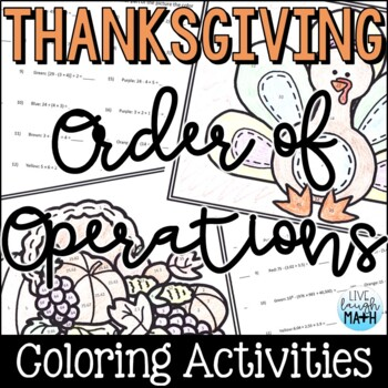 Thanksgiving Math: Order of Operations Color by Number