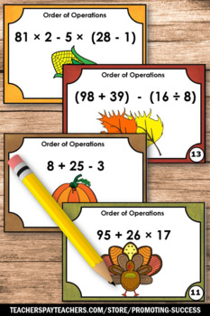 Thanksgiving Math Games Activities Order of Operations Task Cards 5th 6th Grade