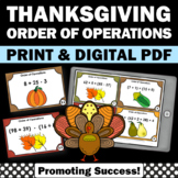 5th Grade Thanksgiving Math Activities, Order of Operations Task Cards SCOOT