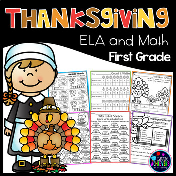 Thanksgiving Activities for First Grade Math Worksheets and Literacy Worksheets