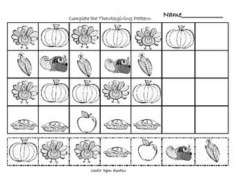 Thanksgiving Math Patterns by Susie | Teachers Pay Teachers