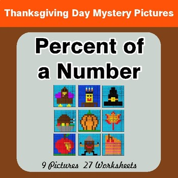 Thanksgiving Math: Percent of a Number - Color-By-Number Mystery Pictures