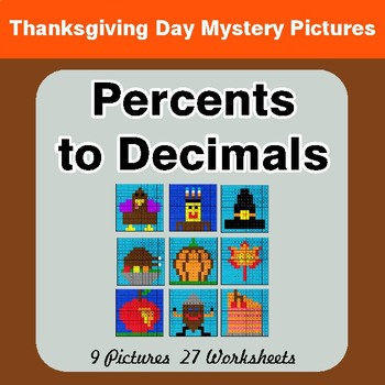 Thanksgiving Math: Percents to Decimals - Color-By-Number Mystery Pictures