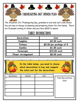 Thanksgiving Math Performance Tasks Combo