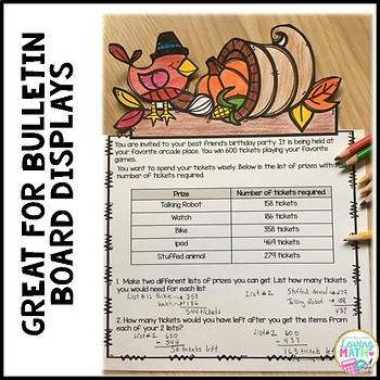 Thanksgiving Math Performance Tasks