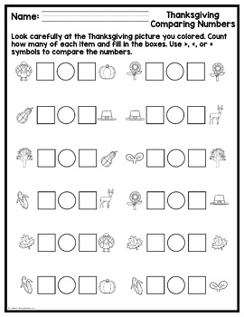 Thanksgiving Math Picture Pages