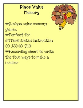 Thanksgiving Math:  Place Value