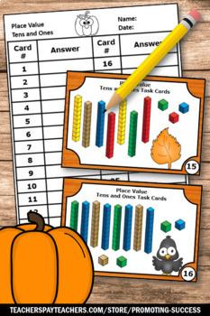 Thanksgiving Place Value Math Games & Activities Kindergarten Task Cards Centers