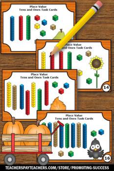Kindergarten Thanksgiving Math Activities, Place Value Task Cards Games SCOOT