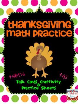 Thanksgiving Math Practice {4.NBT.1-6 & 4.G.2}
