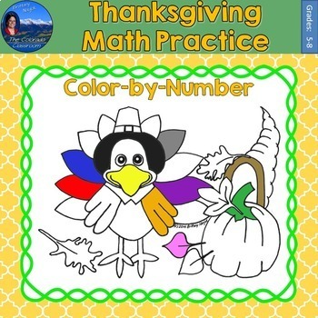 Thanksgiving Math Practice Color by Number Grades 5-8 Bundle