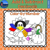 Add & Subtract Decimals Math Practice Thanksgiving Color b