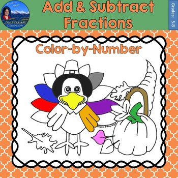 Add & Subtract Fractions Math Practice Thanksgiving Color by Number