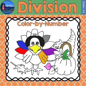 Division Math Practice Thanksgiving Color by Number