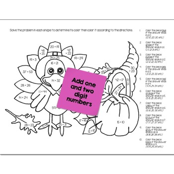 Double Digit Addition Math Practice Thanksgiving Color by Number