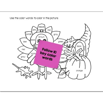 Color Words Math Practice Thanksgiving Color by Number