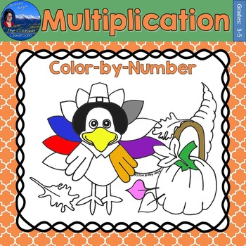 Multiplication Math Practice Thanksgiving Color by Number