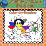 Multiply & Divide Decimals Math Practice Thanksgiving Color by Number