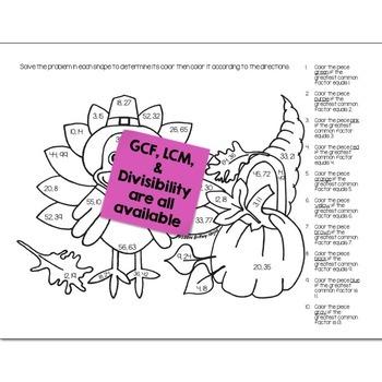Thanksgiving Math Practice Color by Number Grades K-8 Bundle