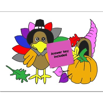 Single Digit Addition Math Practice Thanksgiving Color by Number