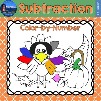 Subtraction Math Practice Thanksgiving Color by Number