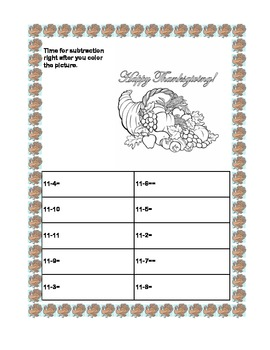 Thanksgiving Math Practice   Subtraction Within 20