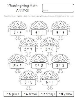 Thanksgiving Math Printables