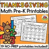 Thanksgiving Math Preschool Printables