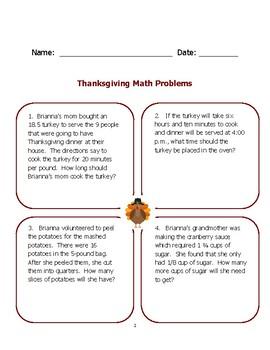 Thanksgiving Math Problems