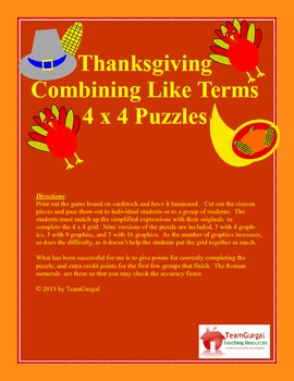 Thanksgiving Math Puzzle - Combining Like Terms