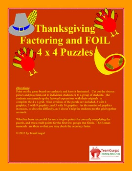 Thanksgiving Math Puzzle - Factoring and FOIL Method (Leading Coefficient of 1)