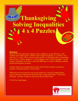 Thanksgiving Math Puzzle - Solving Inequalities Freebie