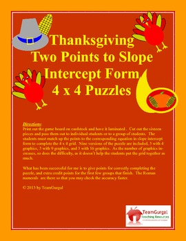 Thanksgiving Math Puzzle - Two Points to Slope Intercept Form