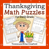 Thanksgiving Math Puzzles - 6th Grade Common Core
