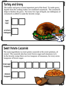 Thanksgiving Math Qualitative Proportions Task Cards